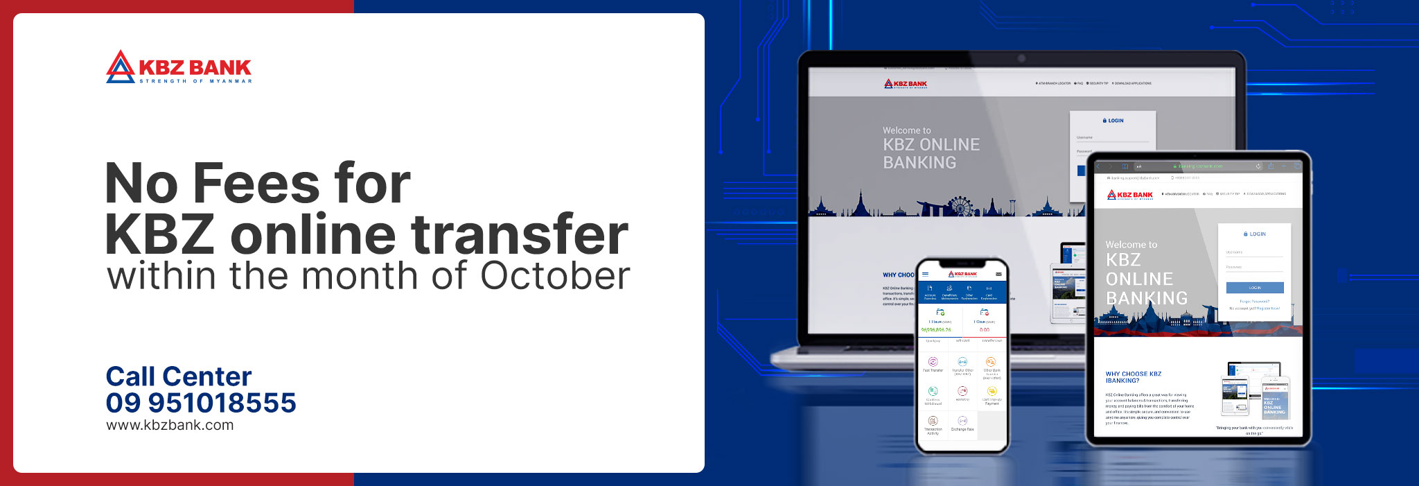 No Fees for KBZ to KBZ Transfers throughout October via KBZ i/mBanking